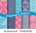 set of 10 abstract patterns.... | Shutterstock .eps vector #749624341