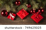 luxury new year gifts ... | Shutterstock . vector #749625025