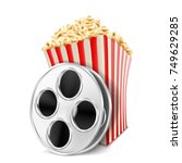 popcorn and film. vector... | Shutterstock .eps vector #749629285