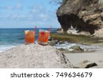 two rum drinks  st. lucia ... | Shutterstock . vector #749634679