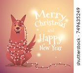 happy dog with a christmas... | Shutterstock .eps vector #749635249