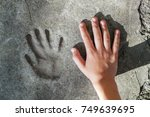 childs hand and memorable... | Shutterstock . vector #749639695