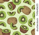 seamless pattern with kiwi... | Shutterstock .eps vector #749640655