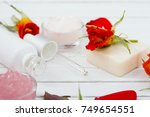 beauty product samples with... | Shutterstock . vector #749654551