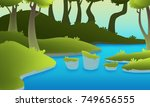 green landscape with a river... | Shutterstock . vector #749656555