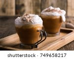 pumpkin spice latte topped with ... | Shutterstock . vector #749658217