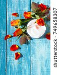 moisturizer and rose flowers on ... | Shutterstock . vector #749658307