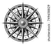 Stock vector vector old vintage compass on white background 749658829