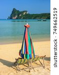 umrella and sunchairs at ao loh ... | Shutterstock . vector #749662519