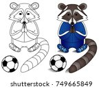 racoon football player vector... | Shutterstock .eps vector #749665849