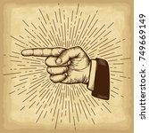 hand drawn hand gesture.... | Shutterstock .eps vector #749669149