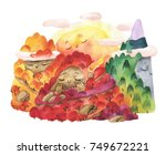 watercolor cute landscape with... | Shutterstock . vector #749672221