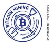 bitcoin mining sticker. hand... | Shutterstock .eps vector #749675491