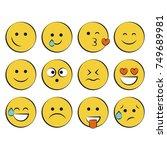 set of smile icons. emoji.... | Shutterstock .eps vector #749689981