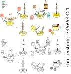 recipe eggnog drink vector diy... | Shutterstock .eps vector #749694451