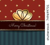 christmas vintage card with a... | Shutterstock .eps vector #749699731
