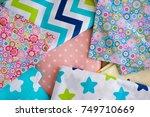 multicolored cotton fabric.... | Shutterstock . vector #749710669