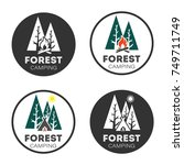 set logo forest camping  style... | Shutterstock .eps vector #749711749