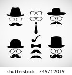 hipster face and accessories.... | Shutterstock .eps vector #749712019