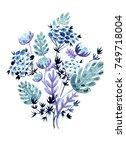 hand painted watercolor bouquet ... | Shutterstock . vector #749718004