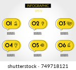 six yellow dotted infographic... | Shutterstock .eps vector #749718121