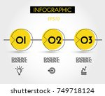 three yellow dotted infographic ... | Shutterstock .eps vector #749718124