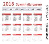 calendar 2018  spain . european ... | Shutterstock .eps vector #749718871