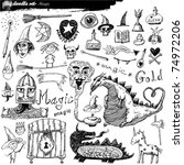 big doodle set   magic | Shutterstock .eps vector #74972206