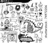 big doodle set   magic | Shutterstock .eps vector #74972206