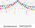 party flags with confetti and... | Shutterstock .eps vector #749722474