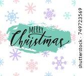 raster merry christmas... | Shutterstock . vector #749723569