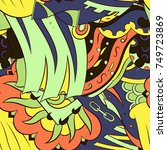 seamless mehndi vector pattern. ... | Shutterstock .eps vector #749723869