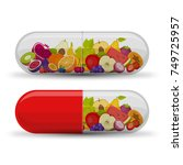 medical capsule with fruit.... | Shutterstock .eps vector #749725957