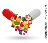medical capsule with fruit and... | Shutterstock .eps vector #749725975