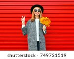 fashion autumn cool girl with... | Shutterstock . vector #749731519