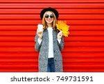 fashion autumn smiling woman... | Shutterstock . vector #749731591