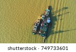 aerial view. boats are docked...   Shutterstock . vector #749733601