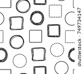 doodle circles and squares... | Shutterstock .eps vector #749734147
