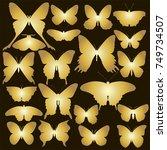 set of gold  butterfly. vector...   Shutterstock .eps vector #749734507