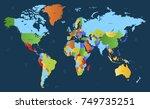 color world map vector | Shutterstock .eps vector #749735251