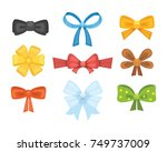 cartoon cute gift bows with... | Shutterstock .eps vector #749737009