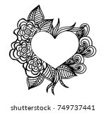 Vector EPS 10 Illustration Decorative Love Frame Composition With Hearts Flowers Ornate Elements In Doodle Style Floral