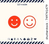 smile icon. happy face symbol... | Shutterstock .eps vector #749741479