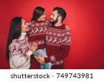 three relatives bonding ... | Shutterstock . vector #749743981
