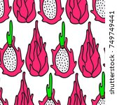 dragon fruit seamless pattern.... | Shutterstock .eps vector #749749441