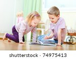 brother and his little sister... | Shutterstock . vector #74975413