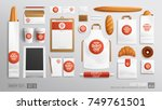 Stock vector white branding identity mockup set for bakery shop cafe corporate style bakery food package 749761501