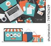 online shopping concept. online ... | Shutterstock .eps vector #749762629