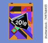new year 2018 calendar cover... | Shutterstock .eps vector #749768455