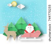 christmas paper landscape.... | Shutterstock .eps vector #749770255